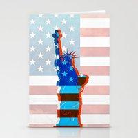 patriots Stationery Cards featuring statue of liberty / USA by Marta Olga Klara
