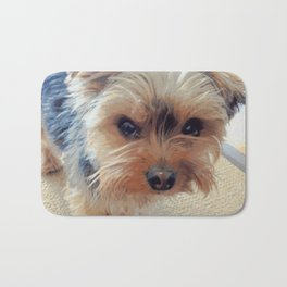Yorkie | Dogs | Terrier | Pets | Humor | What!?! (with text) Bath Mat