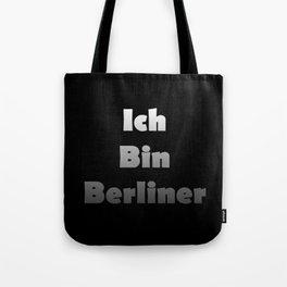 Ich Bin Berliner I am Berlin - White Fade Text Tote Bag