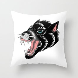 Traditional Wolf Tattoo Throw Pillow