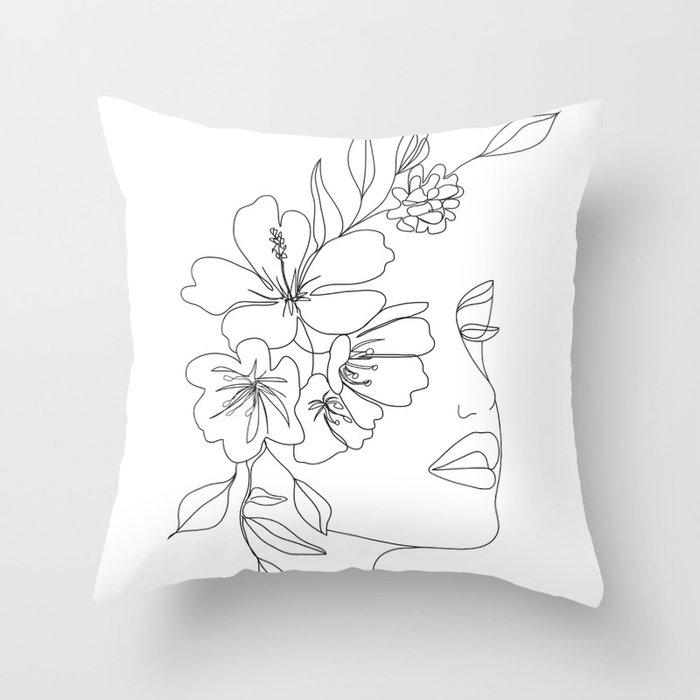 Minimal Line Art Woman Face II Throw Pillow