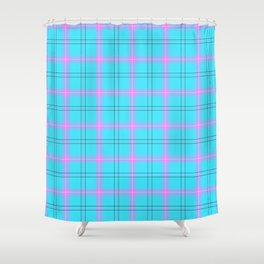 bright blue and pink plaid Shower Curtain
