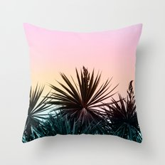 Sunset tropical palms Throw Pillow