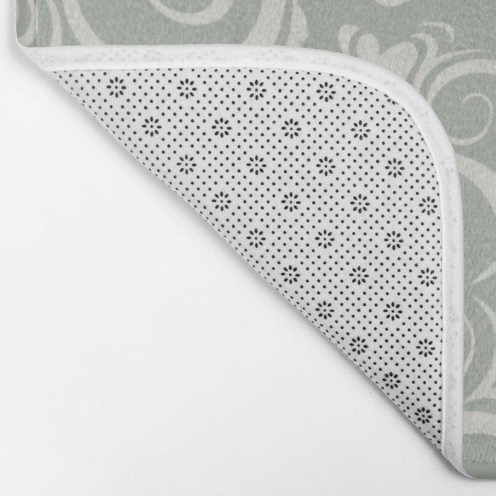 Gray Grey Flora Bath Mat