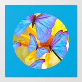 Shiny Blue Butterflies On A Yellow Flower #decor #society6 #buyart Canvas Print