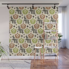 Mid Century Modern Space Flower Pattern Brown and Chartreuse Wall Mural
