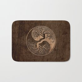 Rough Wood Grain Effect Tree of Life Yin Yang Bath Mat