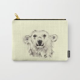 Polar Bear Smiling Black and White Carry-All Pouch
