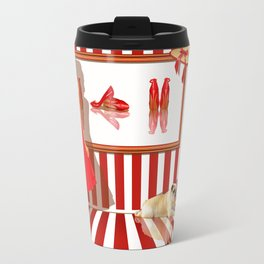Series: Woman Quartet, No.1 in red and white Travel Mug