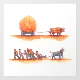 Plowing and Pulling Art Print