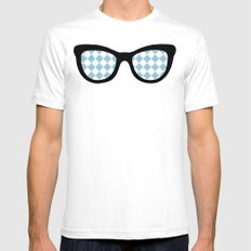 Diamond Eyes on Blue SMALL White Mens Fitted Tee