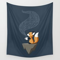 fox Wall Tapestries featuring Fox Tea by Freeminds