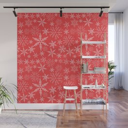 red and white snowflakes Wall Mural