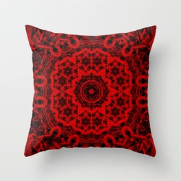 Vibrant red and black wattle mandala Throw Pillow