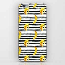 Hand painted yellow black watercolor bananas stripes pattern iPhone Skin