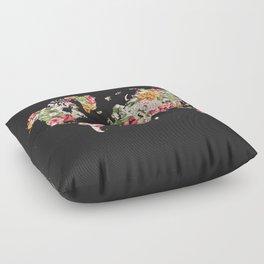 Floral World Map Floor Pillow