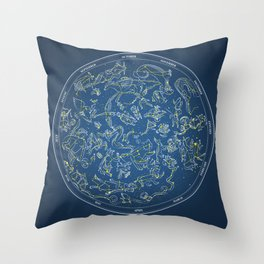 Constellations of the Northern Sky - Negative version Throw Pillow