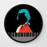 mozart Wall Clocks featuring Mozart  by Prelude Posters