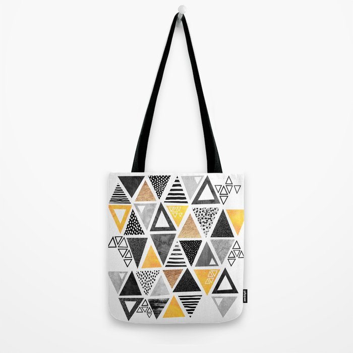 Triangle Abstract / Black & Yellow Tote Bag