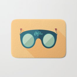 Blue Coffee Sunglasses Bath Mat