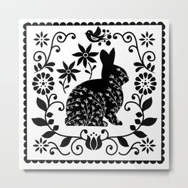 Woodland Folk Black And White Bunny Tile Metal Print