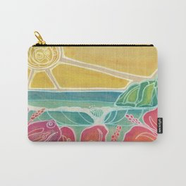 Triple Hibiscus Surf Art by Lauren Tannehill Art Carry-All Pouch