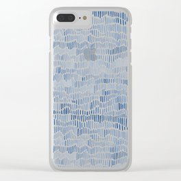 Blue watercolour dashes Clear iPhone Case