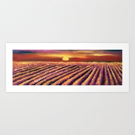 Vibrant Sunset in the Farm Art Print