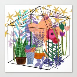 Garden Flowers Greenhouse Canvas Print