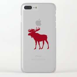 Moose: Rustic Red Clear iPhone Case