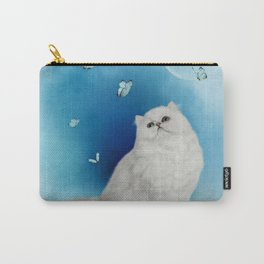 Cute chinchilla cat with butterflies Carry-All Pouch