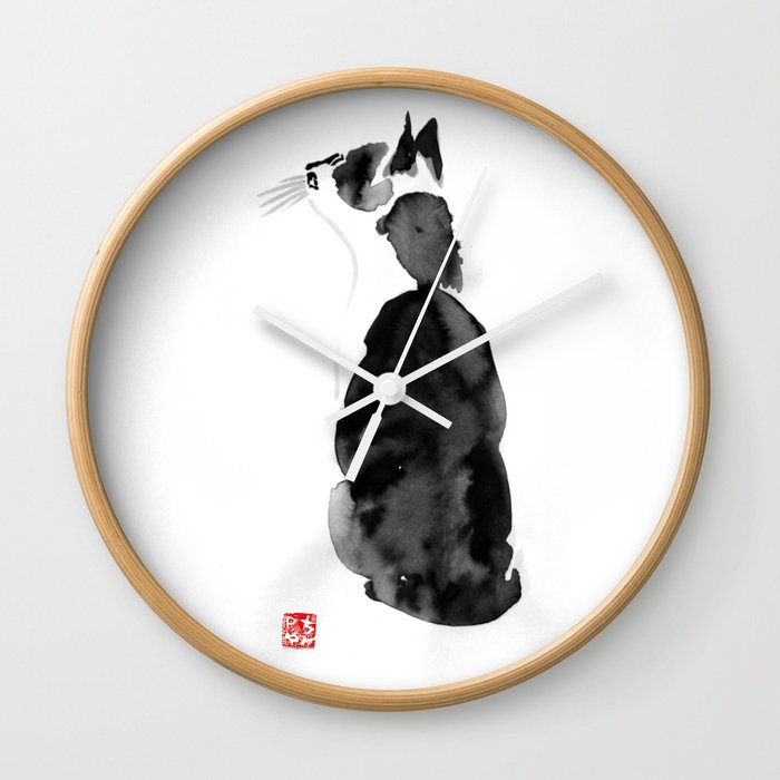 watching cat Wall Clock by pechanesumie