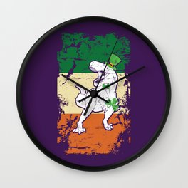 Distressed Irish Flag St Patrick Dinosaur Purple Wall Clock