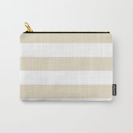 Horizontal Stripes - White and Pearl Brown Carry-All Pouch