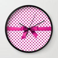 polkadot Wall Clocks featuring Pink Polkadot - Ribbon by albert Junior