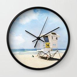 California Beach Photography, Lifeguard Stand San Diego, Blue Coastal Photograph Wall Clock