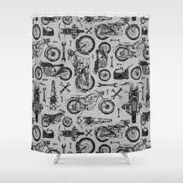 Vintage Motorcycle Pattern Shower Curtain