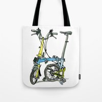 brompton Tote Bags featuring My brompton standing up by Swasky