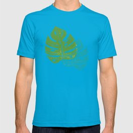 Linocut Monstera Leaf Pattern T-shirt