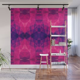 Abstract Polygon Multi Color Cubizm Painting in deep pink/purple  Wall Mural