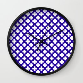Minimalist Blue and White Shapes Wall Clock