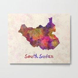South Sudan in watercolor Metal Print