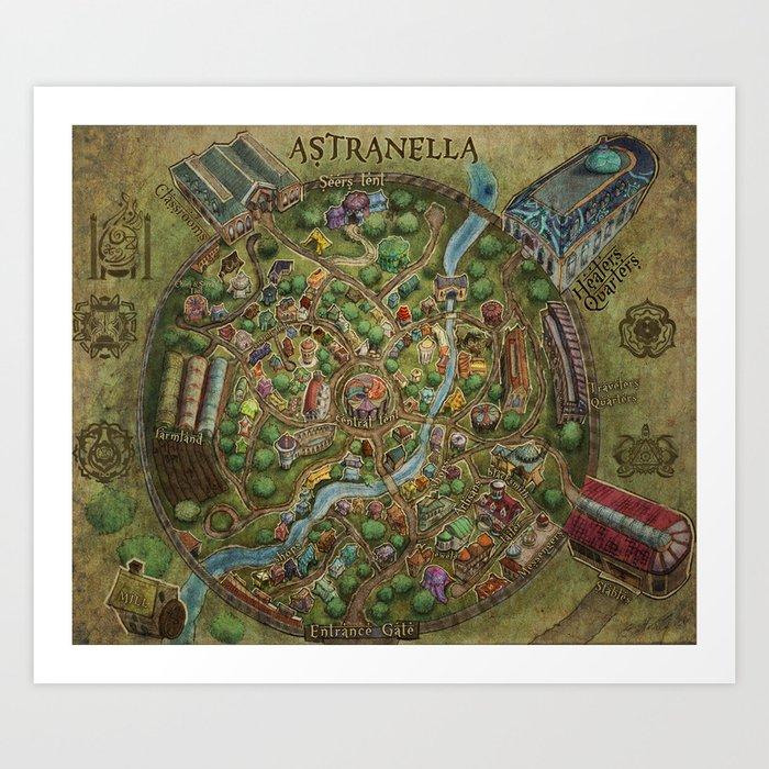Astranella Map Art Print