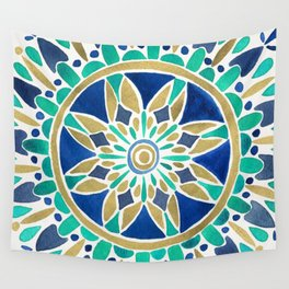 Mandala – Gold & Turquoise Wall Tapestry