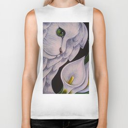 WHITE ANGEL CAT WITH CALLA LILLIES FLOWERS Biker Tank