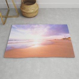 Sunset Beach Scene , Summertime, Pastel Sky Rug