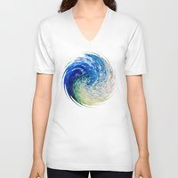 van gogh V-neck T-shirts featuring Wave to Van Gogh by David Lee