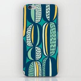 Blue Cactus Garden // mid century modern pattern iPhone Skin