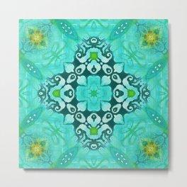 Tile Pattern in Turquoise Metal Print