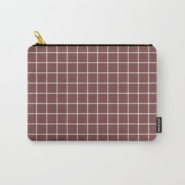 Tuscan red - violet color -  White Lines Grid Pattern Carry-All Pouch
